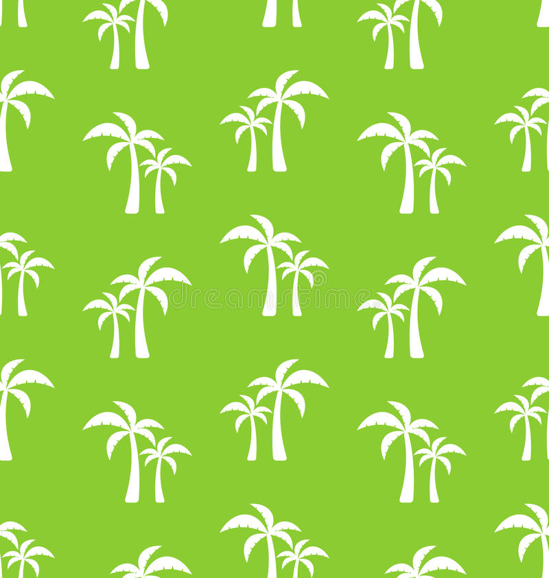 Seamless Pattern with Tropical Palm Trees stock illustration
