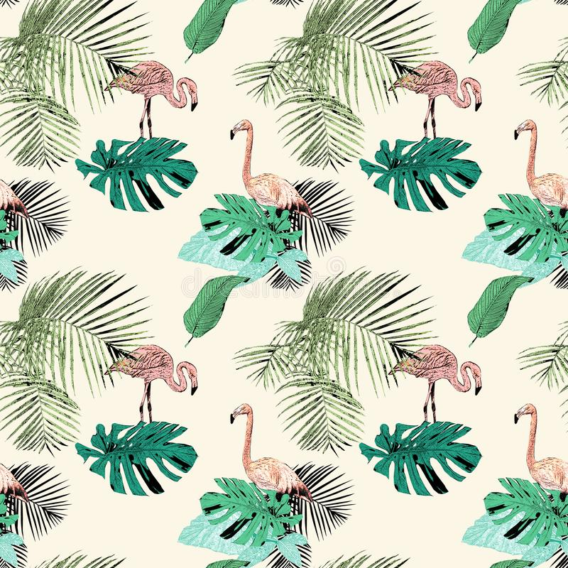 Seamless pattern with tropical palms and flamingo, vintage, grunge background. Perfect for print on fabric, wrapping paper etc. stock illustration