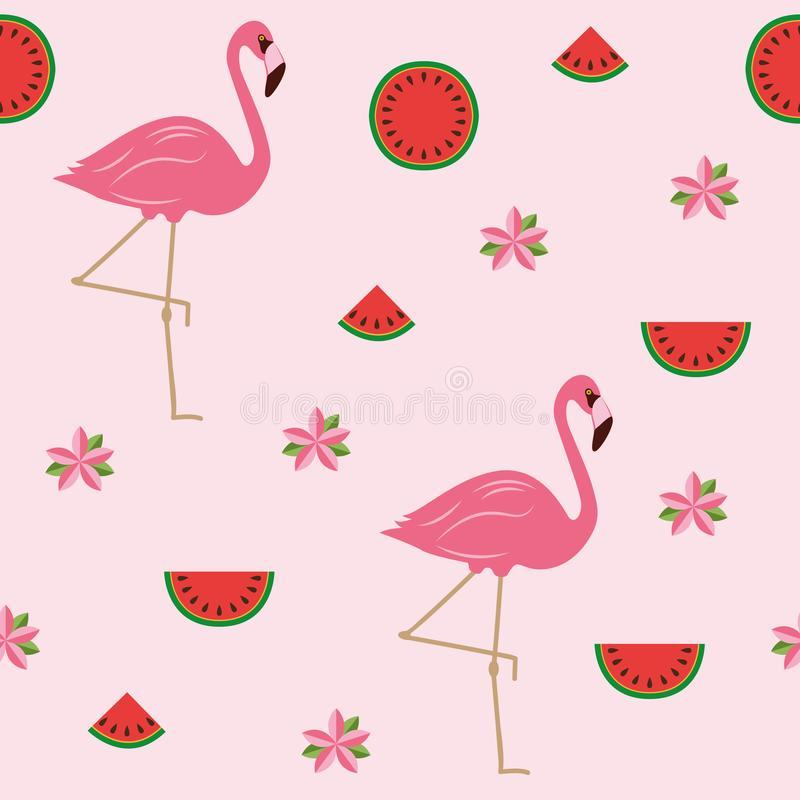 Seamless pattern tropical summer design with flamingos flowers and watermelon stock illustration