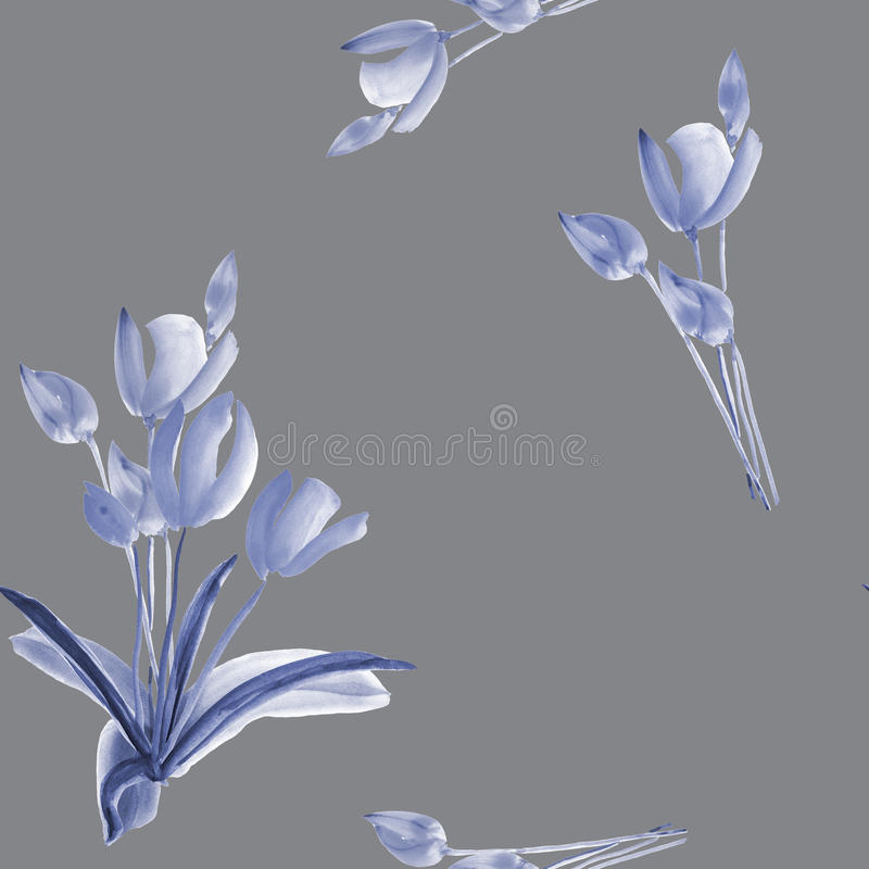 Seamless pattern of tulips with blue flowers on a deep gray background. Watercolor royalty free stock photography