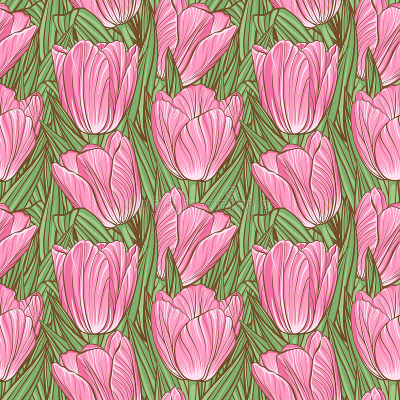 Seamless Pattern With Tulips Stock Photography