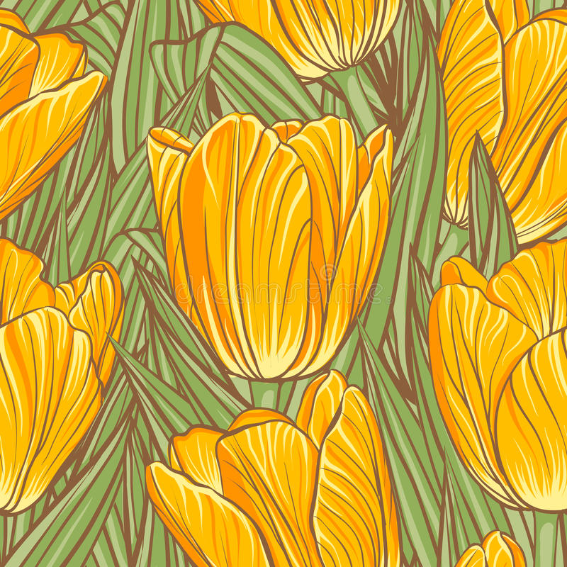 Download Seamless Pattern With Tulips Stock Vector - Illustration of decorative, element: 34597699