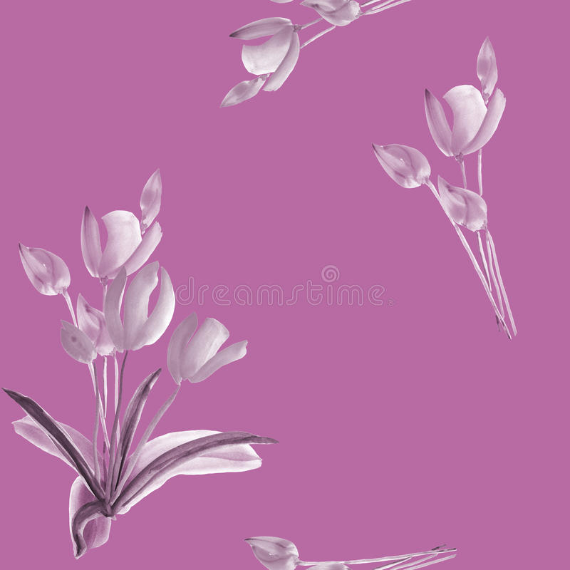 Seamless pattern of tulips with gray flowers on a deep pink background. Watercolor royalty free stock photo