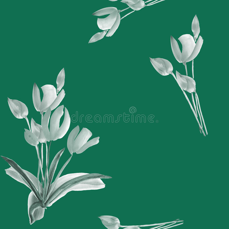 Seamless pattern of tulips with gray and green flowers on a deep green background. Watercolor royalty free stock photo