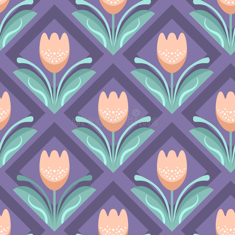Seamless pattern with tulips vector illustration