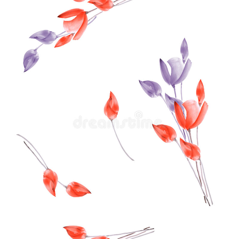 Seamless pattern of tulips with violet and red flowers on a white background. Watercolor royalty free stock image