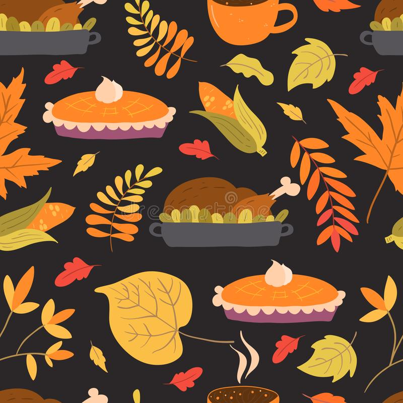 Seamless pattern with turkey, pumpkin pie and autumn foliage. Vector seamless pattern with turkey, pumpkin pie and autumn foliage on background. Perfect for vector illustration