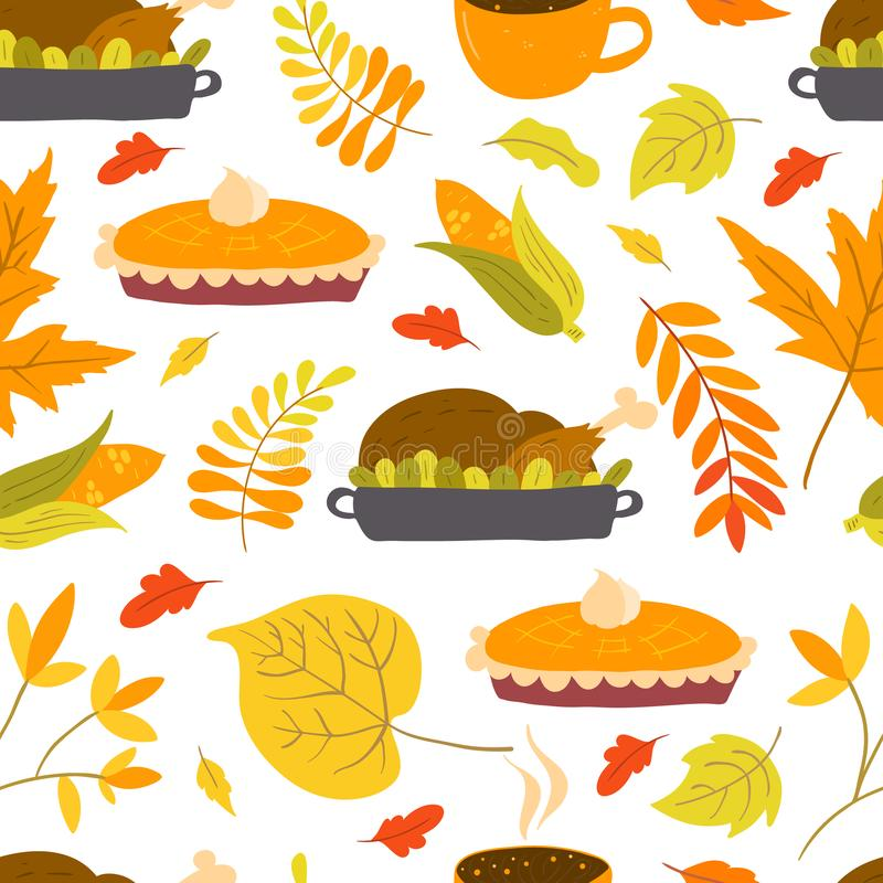 Seamless pattern with turkey, pumpkin pie and autumn foliage. Vector seamless pattern with turkey, pumpkin pie and autumn foliage on white background. Perfect vector illustration