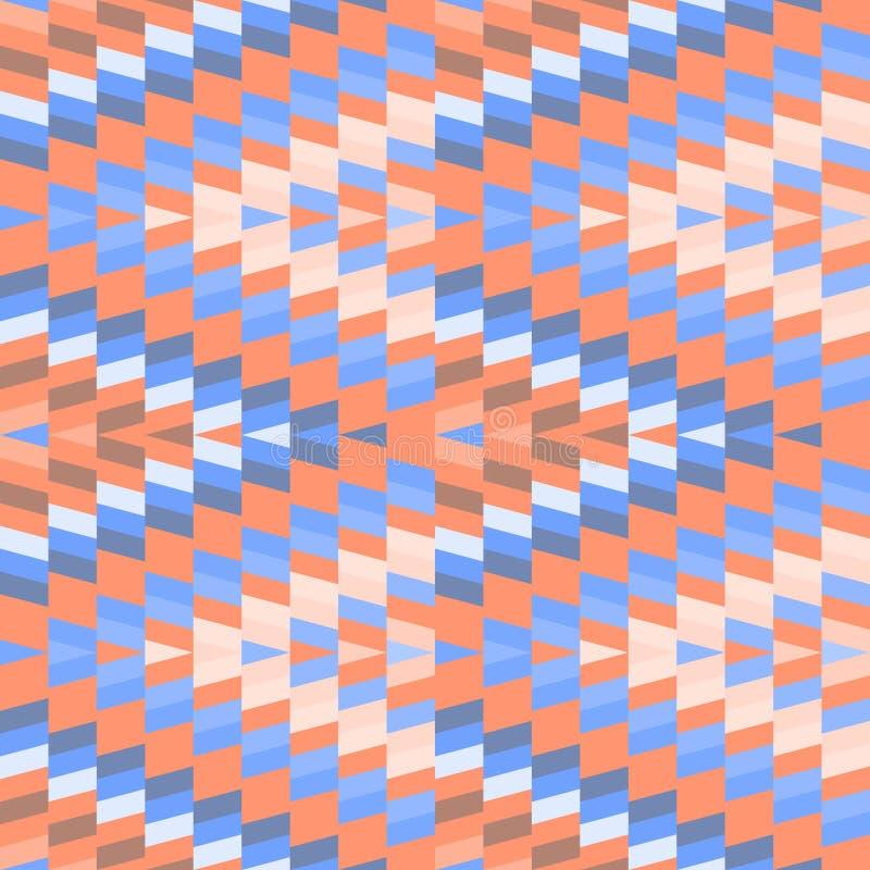 Seamless pattern Turkish carpet pink sky blue orange beige. Patchwork mosaic oriental kilim rug with traditional folk geometric stock illustration