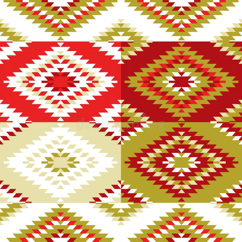 Seamless pattern Turkish carpet white red green olive khaki. Colorful patchwork mosaic oriental kilim rug with traditional folk ge stock illustration