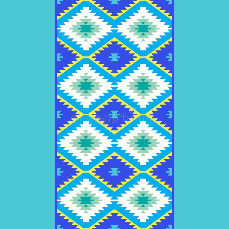 Seamless pattern Turkish carpet yellow blue green. Patchwork mosaic oriental kilim rug with traditional folk geometric ornament. T. Ribal style. Vector stock illustration
