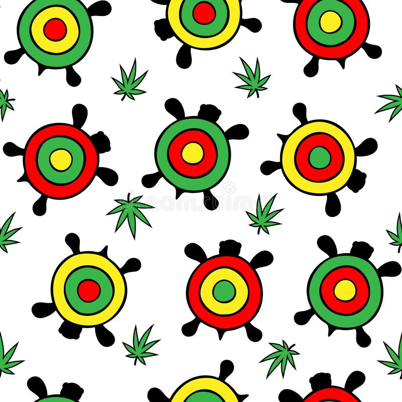 Seamless pattern. Many bright multi-colored turtles among hemp leaves. On a transparent background vector illustration