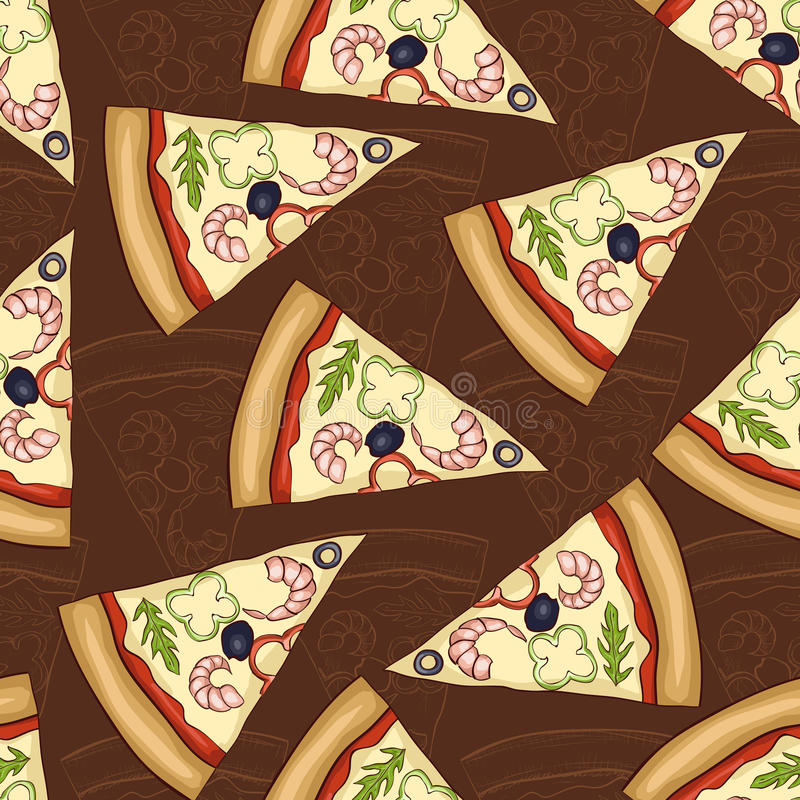Seamless pattern two types of pizza shrimp royalty free illustration