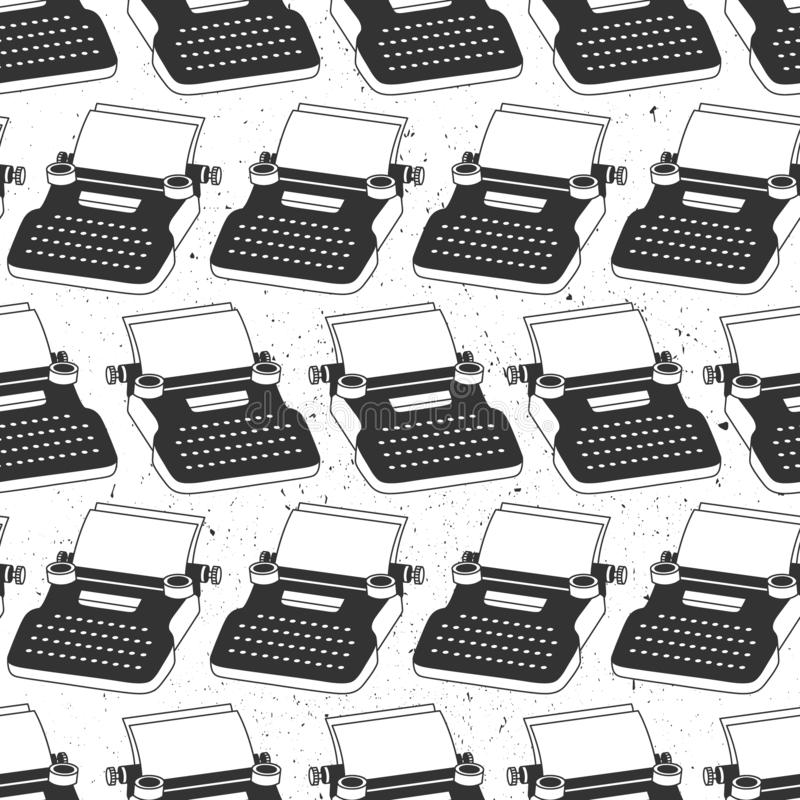 Black and white seamless pattern with typewriters, sheets of paper. Decorative background, objects for writing stock illustration
