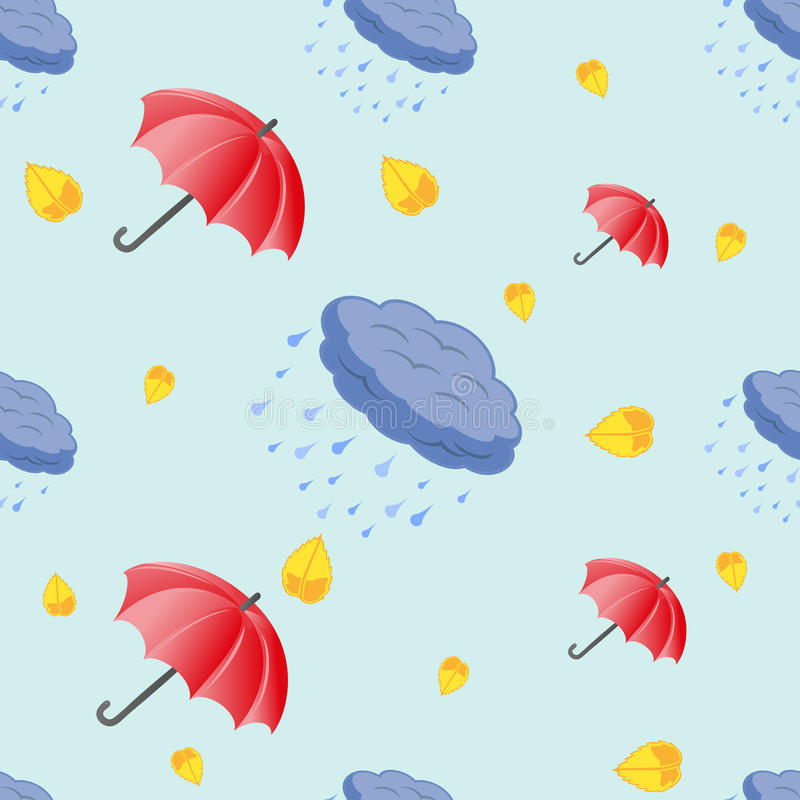 Seamless pattern of umbrellas and clouds vector illustration