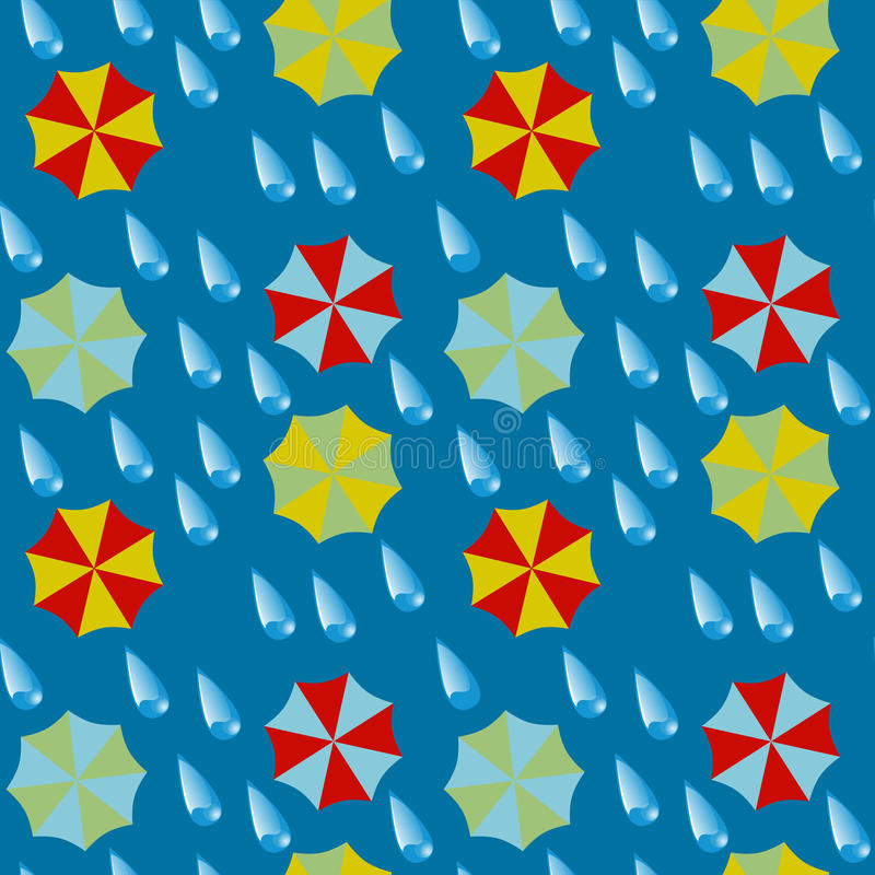 Seamless pattern - umbrellas and drops of a rain. Vector illustration vector illustration