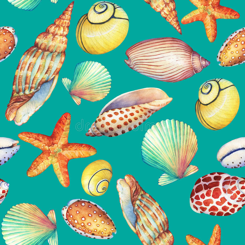Seamless pattern with underwater life objects, isolated on turquoise background. Marine design-shell, sea star. Watercolor hand d vector illustration