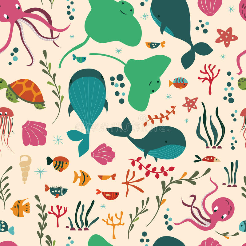 Seamless pattern with underwater ocean animals, whale, octopus, stingray, jellysfish. Colorful vector illustration royalty free illustration