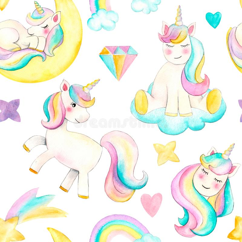 Seamless pattern with unicorns. Beautiful watercolor unicorn illustration. Magic trendy cartoon horse perfect for nursery print an stock illustration