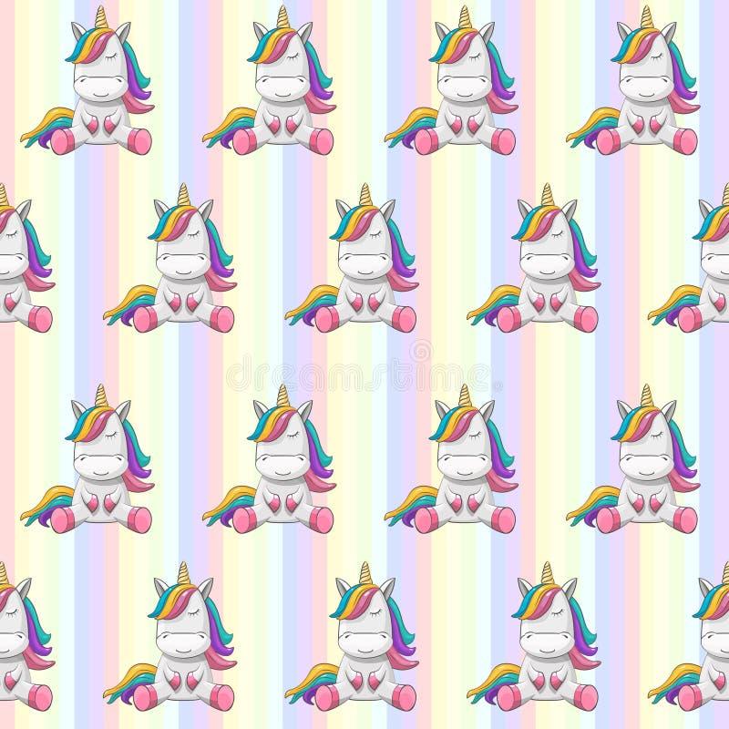 Cute Unicorn With Rainbow Hair On A Rainbow Background