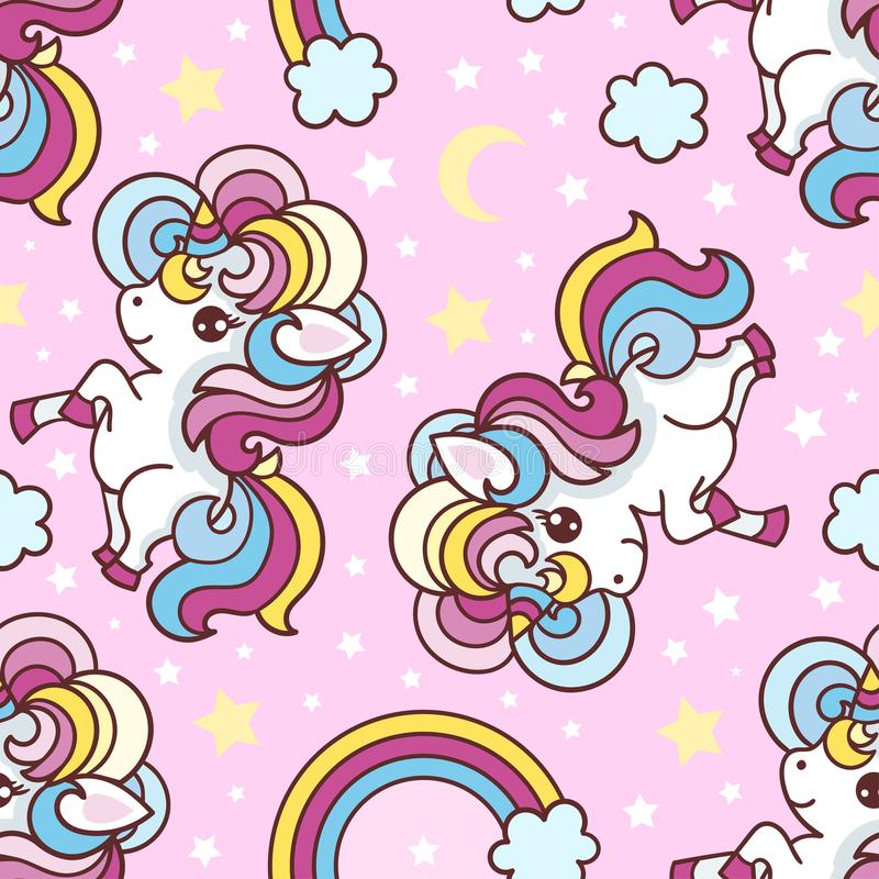 Seamless pattern with unicorns, rainbow vector illustration