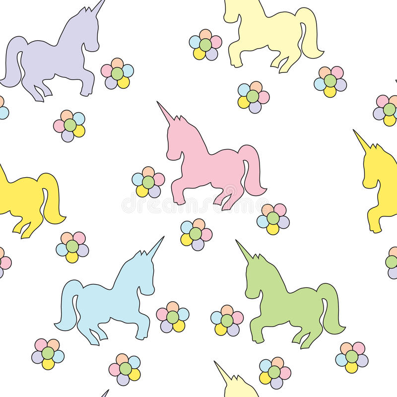 Seamless pattern with unicorns. Vector color picture. Children`s drawing. royalty free stock image