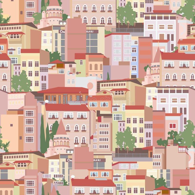 Seamless pattern with urban scene vector illustration
