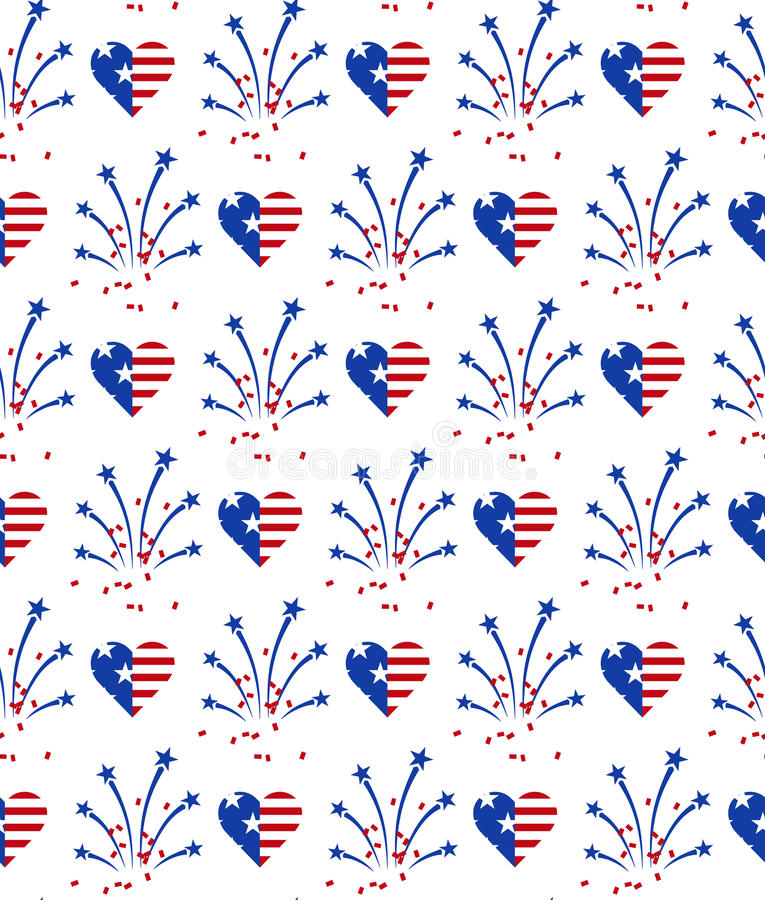 Seamless pattern for US Independence Day 4th of July. stock illustration