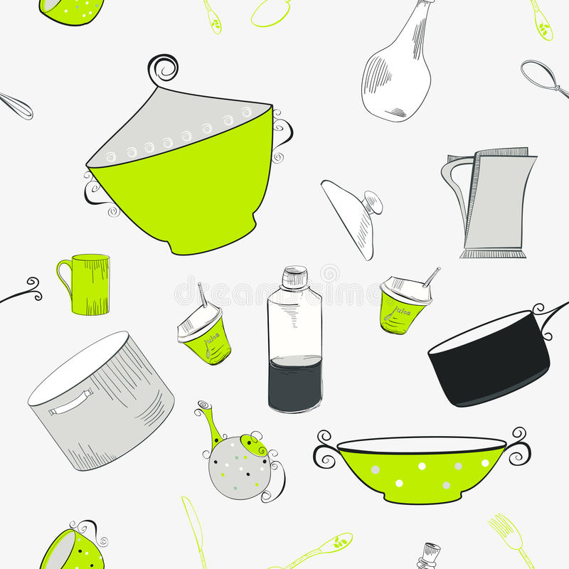 Seamless Pattern With Utensils Stock Photography