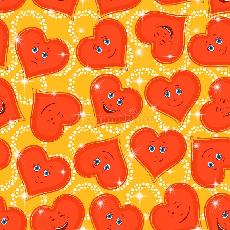 Seamless Pattern, Valentine Hearts Smiley vector illustration