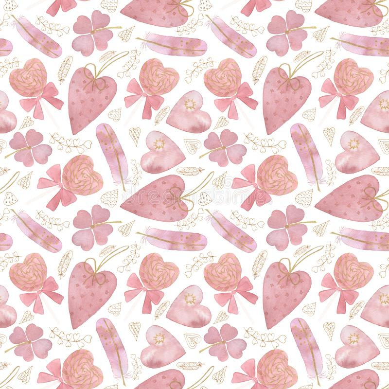 Seamless pattern for Valentine`s day with pink and gold elements, hearts, lollipops, feathers on a white background. royalty free stock photos