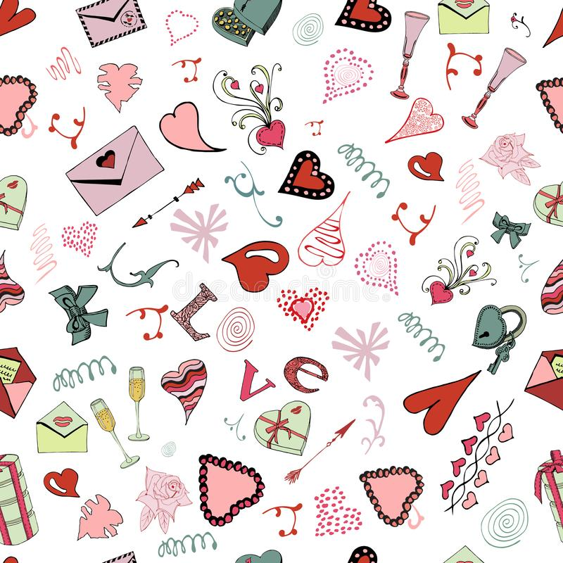 Seamless pattern of Valentine`s Day theme doodle elements. Hand drawn and colored love symbols and hearts on white background. stock illustration