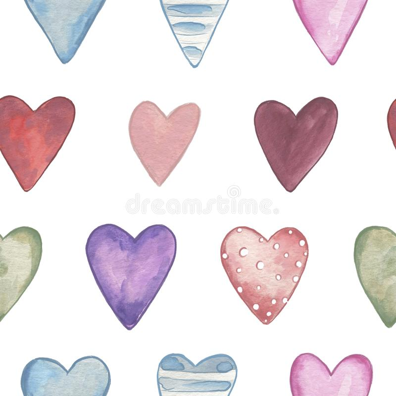 Seamless pattern. Valentines Day. Delicate Love. Hand drawn water color hearts. On the flat white background royalty free illustration