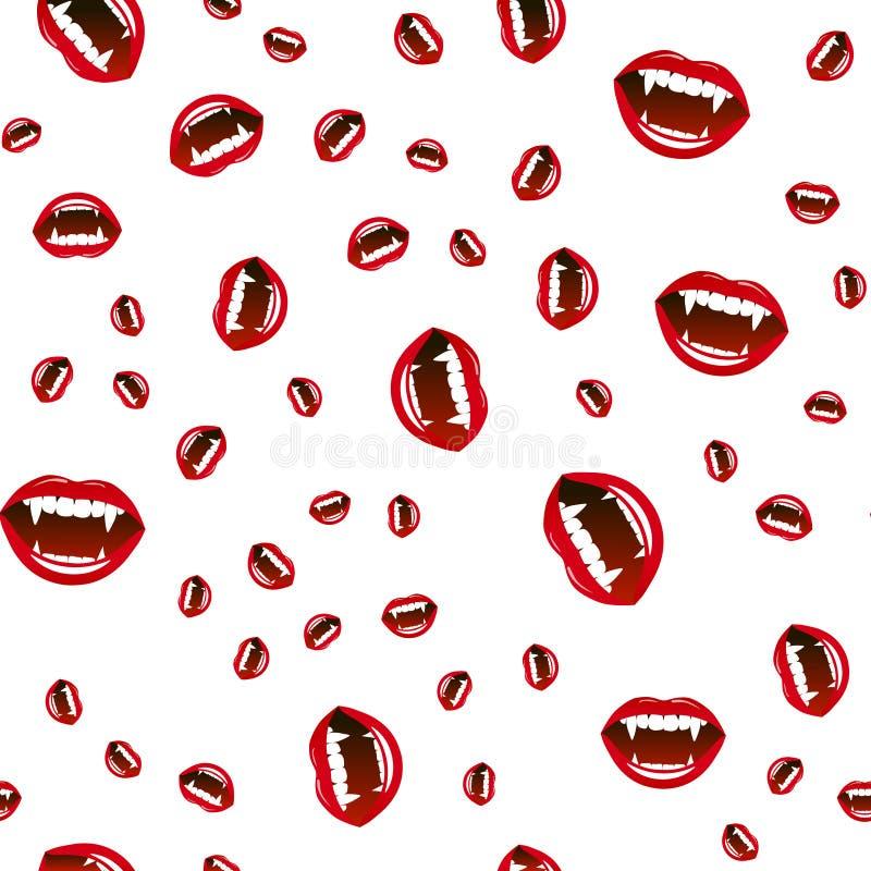 Seamless pattern of vampire lips on white background. Vector illustration stock illustration