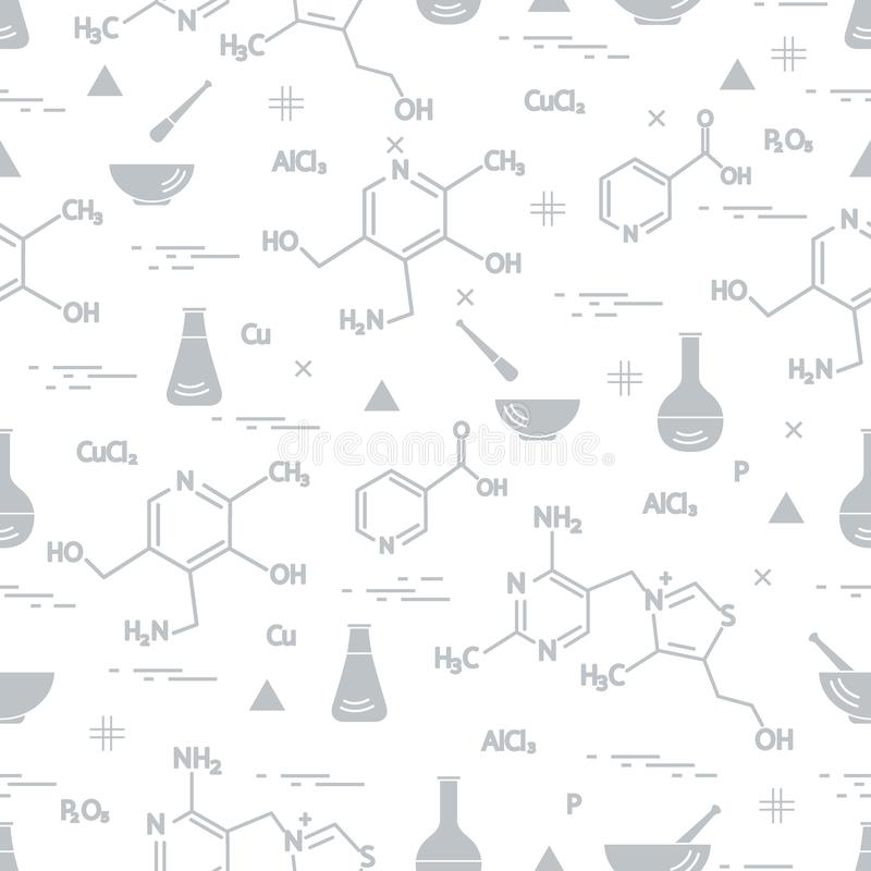 Seamless pattern with variety scientific, education elements: flask, formula, pestle and other. Design for banner, poster or print. Vector. Seamless pattern with royalty free illustration