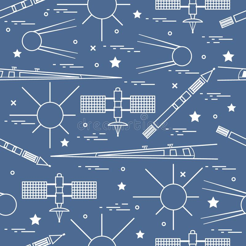 Seamless pattern with variety space exploration elements. Design for banner, poster or print. Vector. Seamless pattern with variety space exploration elements vector illustration