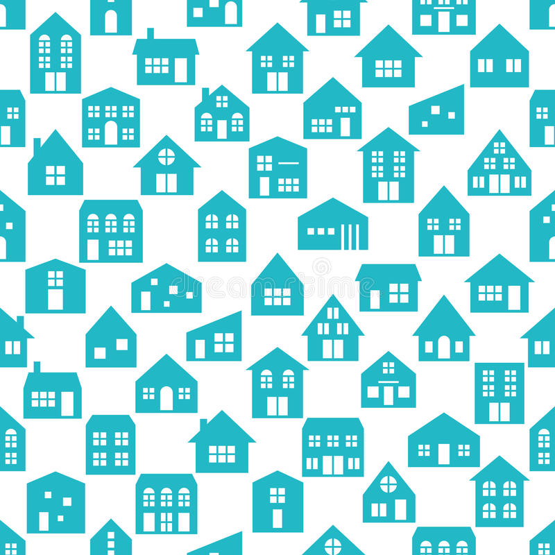 Seamless pattern with various cartoon houses. Background of various cartoon houses royalty free illustration