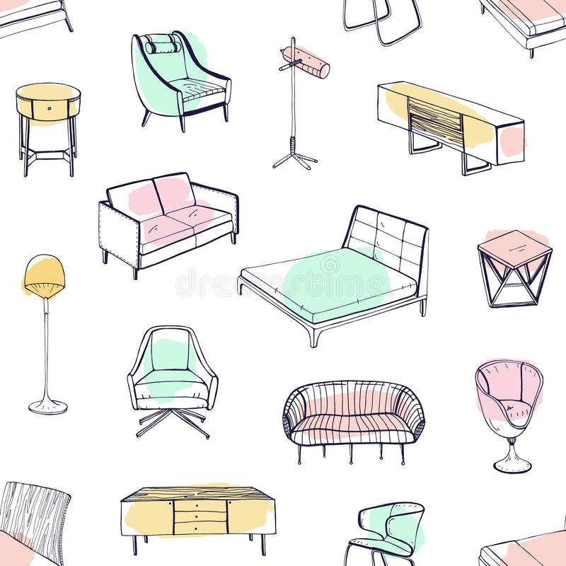 Seamless pattern with various cozy furniture drawn with contour lines and colored stains on white background. Backdrop stock illustration