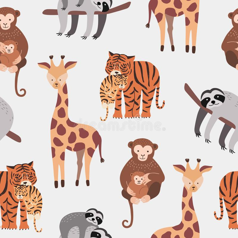 Seamless pattern with various cute and funny cartoon zoo animals on white background - monkeys, sloth, tiger, giraffe royalty free illustration