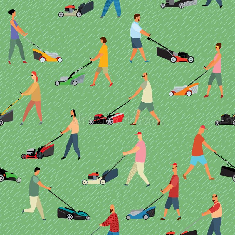 Seamless pattern. Various drawn people mow grass with lawn mowers. Vector full color graphics royalty free illustration