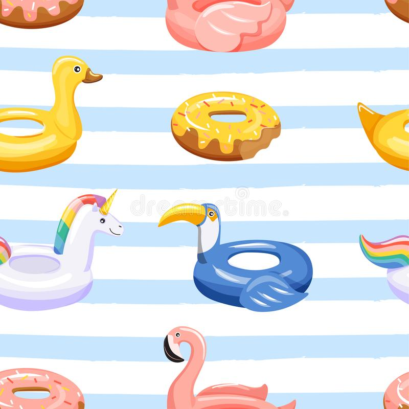 Seamless pattern with various inflatable swimming pool rings in the shape of flamingo, unicorn, duck, donut and toucan. Trendy texture for textile, wrapping vector illustration