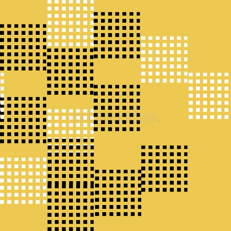 Seamless pattern vector of abstract and random black and white square on yellow background. Abstract background vector illustration