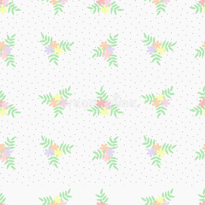 Seamless pattern vector of beautiful tiny flower bouquet. Lovely and sweet flower bouquet on pastel background royalty free illustration
