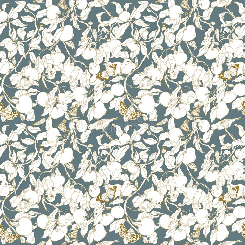 Pattern with trees, birds, apples and insects stock illustration