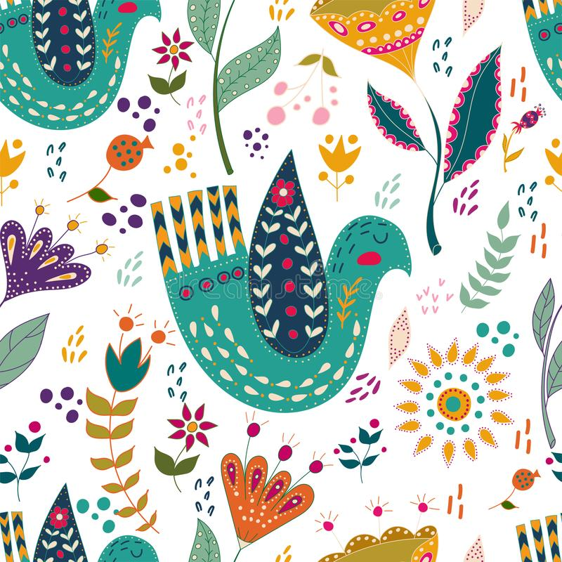 Seamless pattern vector colorful illustration with beautiful birds and flowers. Art poster for decoration your interior royalty free illustration