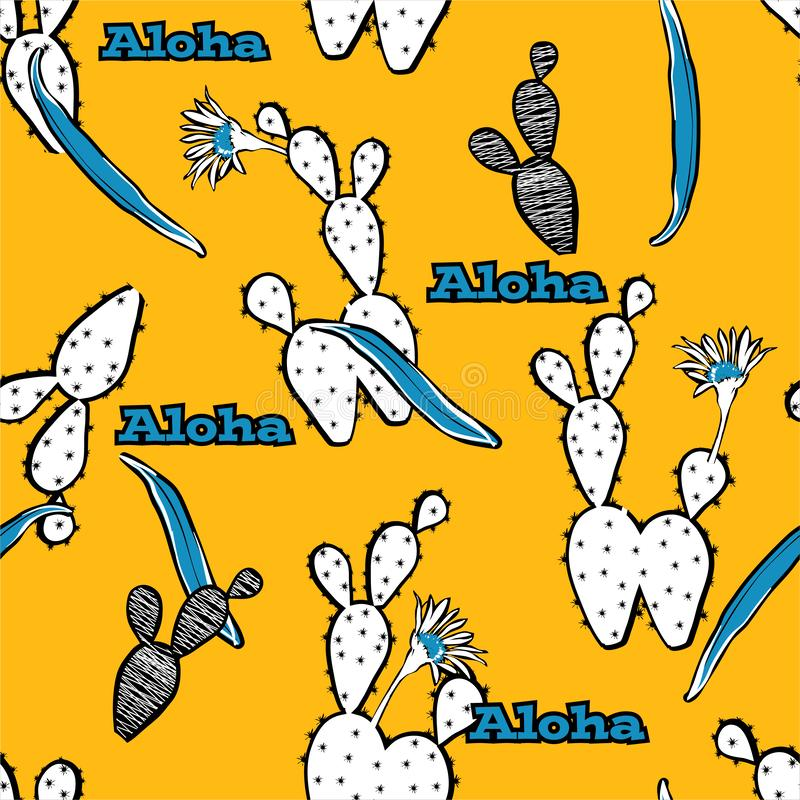 Seamless pattern vector Cute and bright cactus with ALOHA greeting text ,design for fashion ,fabric,web,wallpaper, and all prints. On vivid yellow background stock illustration