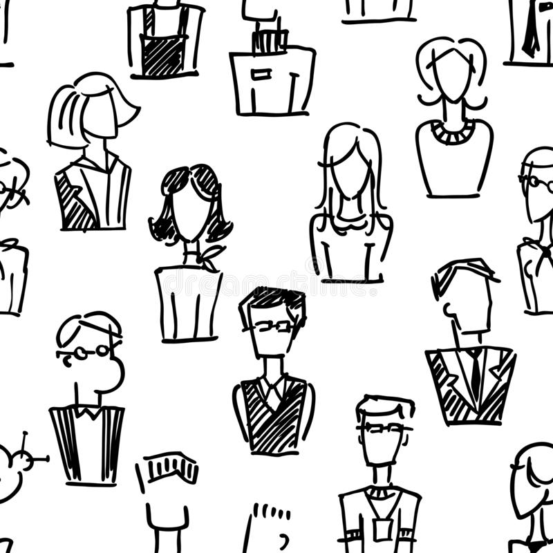 A seamless pattern with vector dooodle business avatars for presentation design and web site. A set of vector dooodle businees ava. Tar for presentation design stock illustration