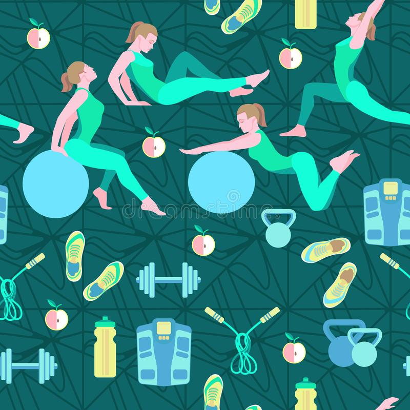 Seamless pattern with vector flat illustration. Women sports, yoga and physical exercises.4 royalty free stock images