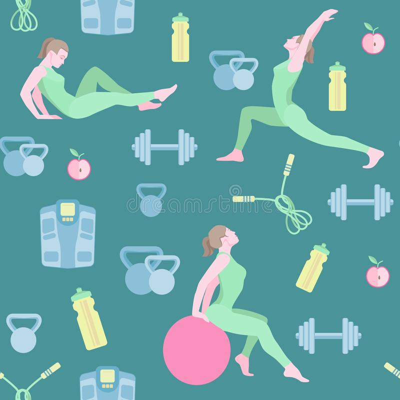 Seamless pattern with vector flat illustration. Women sports, yoga and physical exercises.2 royalty free stock photo