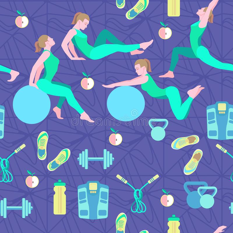 Seamless pattern with vector flat illustration. Women sports, yoga and physical exercises.5 stock images